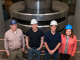 PML restoration team and leadership in front of the newly refurbished million-pound weightstack. From left to right: Project Leader Rick Seifarth, Sam Ho, Kevin Chesnutwood, and Mass and Force Group Leader Zeina Kubarych.