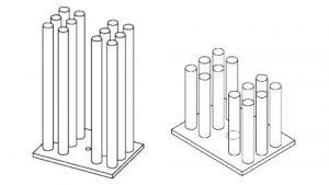 Fin Array based on Optimal Design (left); Half Length Version of the Optimal Design (right).