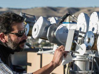NREL's Ibrahim Reda helps calibrate instruments at this year's NREL Pyrheliometer Comparisons. Photo by Dennis Schroeder, NREL